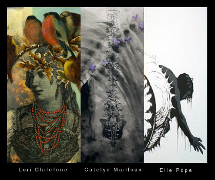 Artwork by resident artists Lori Chilefone, Catelyn Mailloux and Ellie Pope