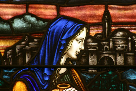 Samaritan Woman st the Well stained glass