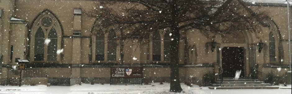 Snow on the cathedral sign